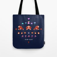 donkey kong Tote Bags featuring Donkey Kong by Slippytee Clothing
