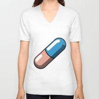 akira V-neck T-shirts featuring Akira Pill by Studio Momo╰༼ ಠ益ಠ ༽