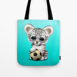 White Tiger Cub With Football Soccer Ball Tote Bag