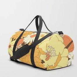Yellow, Orange and Brown Vintage Floral Pattern Duffle Bag