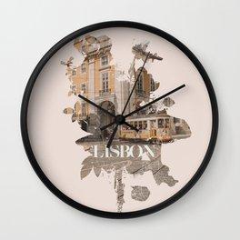 Lisbon poster Wall Clock