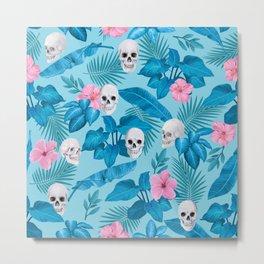 Skulls in the Blue Jungle Metal Print