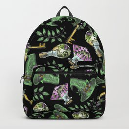 Spring Witch - Botanical Witchcraft Pattern on Black Backpack