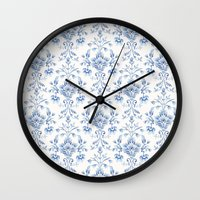damask Wall Clocks featuring Damask... by Catherine Ann Lewis