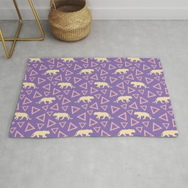 Wild African yellow walking lioness silhouettes and abstract triangle shapes. Stylish original lilac mauve purple seamless retro vintage animal geometric animal pattern. Rug
