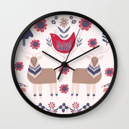 Scandinavian Winter Pattern Beige #society6 #buyart Wall Clock