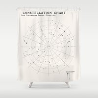 constellations Shower Curtains featuring Constellations by Sarah Rodriguez