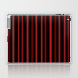 Mattress Ticking Wide Striped Pattern Red on Black Laptop & iPad Skin