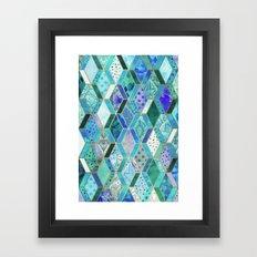 Sapphire & Emerald Diamond Patchwork Pattern Framed Art Print