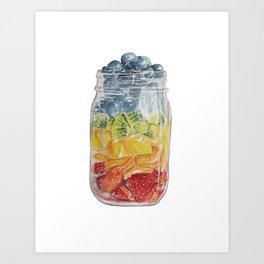 Watercolor Mason Jar Fruit Salad Art Print