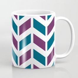 Teal blue, purple and white chevron pattern Coffee Mug