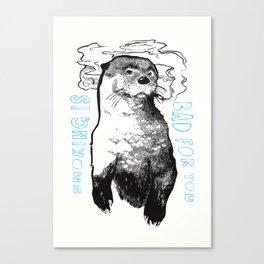Smoking Otter Canvas Print