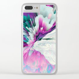 Obvious Subtlety Glitched Fluid Art Clear iPhone Case
