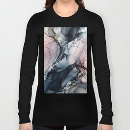 Blush, Navy and Gray Abstract Calm Clouds Long Sleeve T-shirt