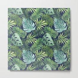 Tropical Branches on Dark Pattern 06 Metal Print