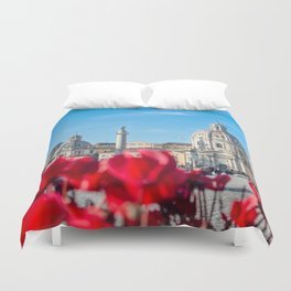 Italy - Red Flowers in Rome Duvet Cover
