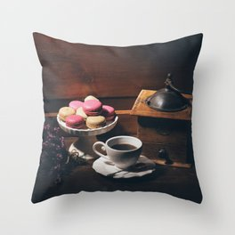 Vintage still life with coffee items Throw Pillow