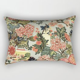 Chinese Dragon Vintage Floral Pattern Rectangular Pillow