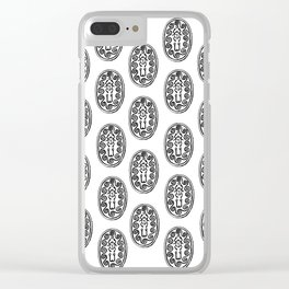 Ancient Egyptian Amulet Pattern Black & White Clear iPhone Case