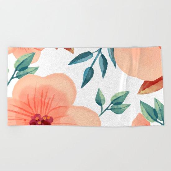 FLOWERS WATERCOLOR 2 Beach Towel