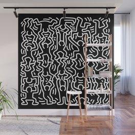 Figures Variation Keith Haring Black Wall Mural