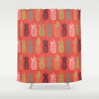 pineapples Shower Curtains featuring Pineapples by Annie Smith Designs