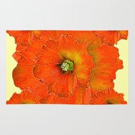 ORANGE DOUBLE  HOLLYHOCK FLOWERS YELLOW GARDEN Rug