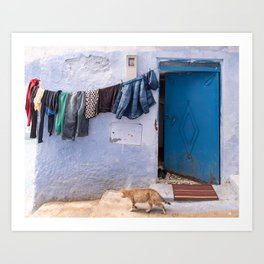 Life in the Blue City, Morocco Art Print