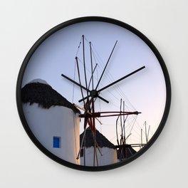 Famous Mykonos Windmills in Greece Wall Clock