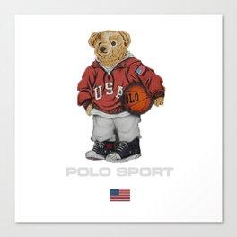 Vintage Polo Bear Canvas Print