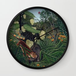 Henri Rousseau, The Equatorial Jungle, monkeys in the forest Wall Clock