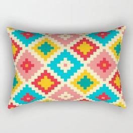 Red Yellow And Pink Diamond Pattern Stylish Native Aztec Rectangular Pillow
