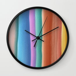 Colorful watercolor stripes Wall Clock