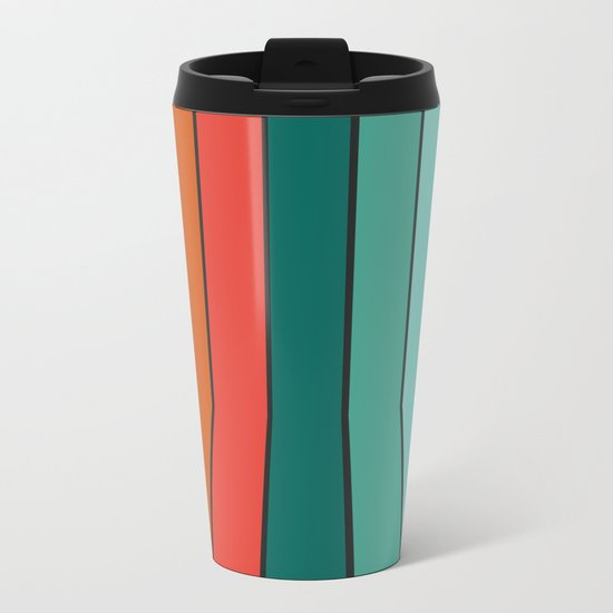 Flipside - 70's style trendy throwback retro gifts 1970s abstract art Metal Travel Mug
