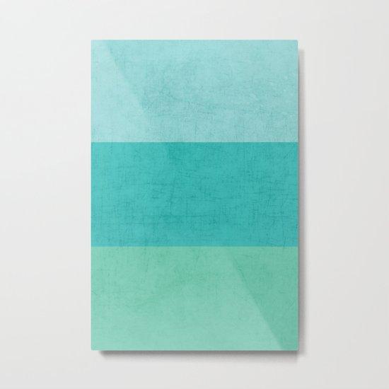 three stripes - teal Metal Print