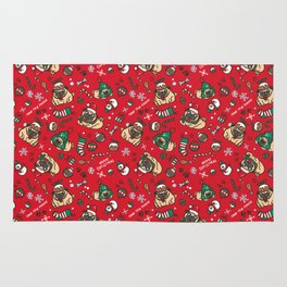 Christmas pattern with pugs Rug