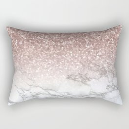 Sparkle - Glittery Rose Gold Marble Rectangular Pillow