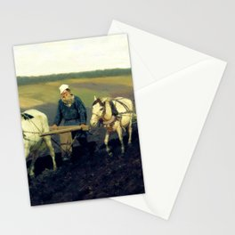 retro Portrait (LN Tolstoy on arable land) Stationery Cards