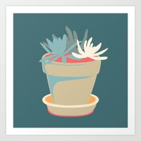 succulent Art Prints featuring Succulent by Rabbits In The Sky