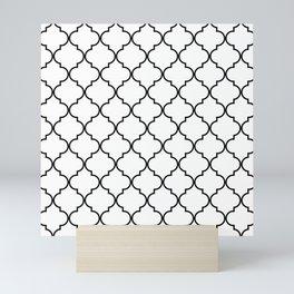 Quatrefoil - White and Black Mini Art Print