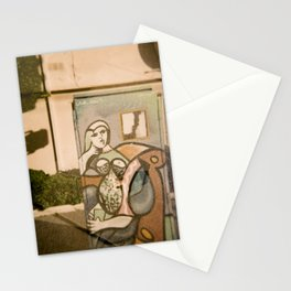Woman on Electrical Box with Toy Horse  Stationery Cards