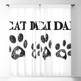 Cat Dad text. Doodle cat paw print and heart Blackout Curtain