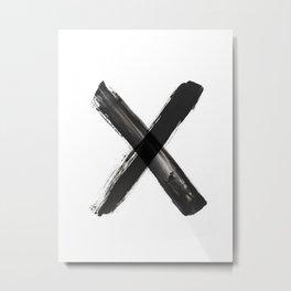 X Minimalist Ink Art Metal Print