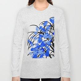 Falling Leaves Blue Long Sleeve T-shirt