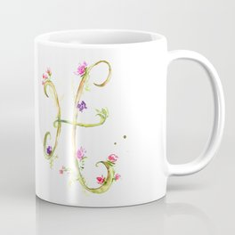 Letter H watercolor - Watercolor Monogram - Watercolor typography - Floral lettering Coffee Mug