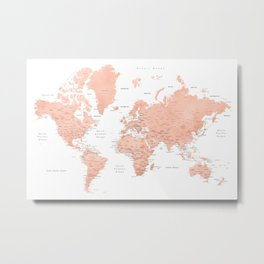 "Rose gold world map with cities, ""Hadi"" Metal Print"
