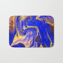 Marble gold and deep blue Bath Mat