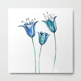 Watercolor blue bellflowers Metal Print