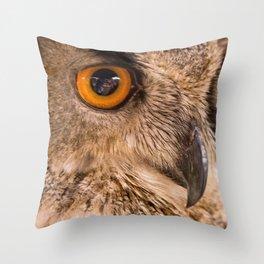 Eagle Owl Close Up Throw Pillow