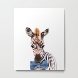Baby Zebra With Bow Tie, Baby Animals Art Print By Synplus Metal Print
